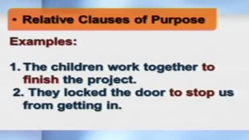 The Infinitive Clauses of Purpose.