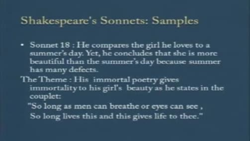 Shakespeare's Sonnets: Sonnets 18, 29, 116, 130.