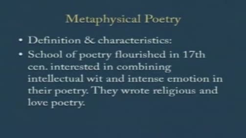 Metaphisycal poetry: Definision and Characteristics