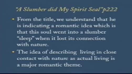 "William Wordsworth:""A Slumber Did My Spirit Seal"""