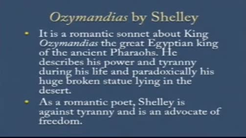 "Percy Bysshe Shelley:""Ozymandias"""