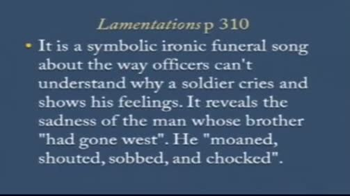 "Siegfried sassoon:""Lamentations"""