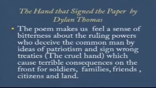 "Dylan Thomas: ""The Hand that signed the paper"""
