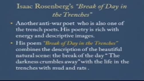 "Issac Rosenberg:""Break of Day in the Trenches"""