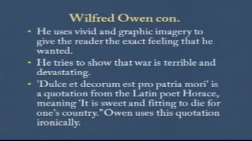 """Wilfred Owen:""""Dulce et Decorum Est"""""""