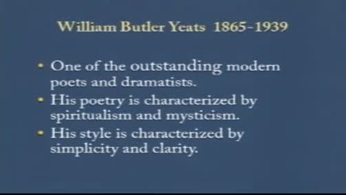 "William Butler Yeats:""Sailing to Byzantium"""