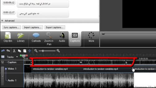 إضافة ترجمة بين ترجمتين إلى مقطع الفيديو باستخدام برنامج Camtasia Studio