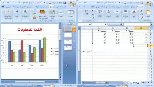 برنامج بوربوينت 2007 - إدراج الصور وتنسيقها - إدراج المخططات البيانية