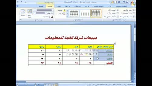 برنامج Word 2007 - الجداول - الحدود والتظليل