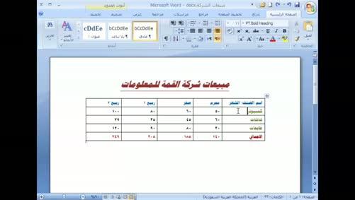 برنامج Word 2007 - الجداول - إدراج الصفوف والأعمدة