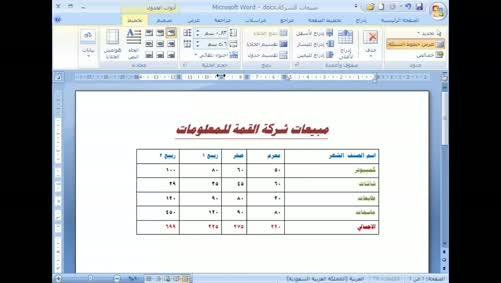 برنامج Word 2007 - الجداول - تعديل حجم الخلية