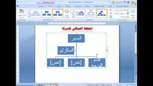 برنامج Word 2007 - الصور - إدراج المخططات الهيكلية