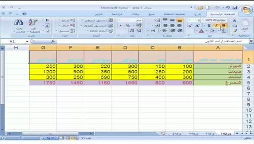 برنامج Excel 2007 - التعامل مع المصنّف - تنسيق الجدول