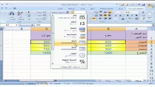 برنامج Excel 2007 - التعامل مع المصنّف - تنسيق الأرقام