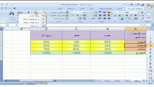 برنامج Excel 2007 - التعامل مع المصنّف - الإدراج في الجدول