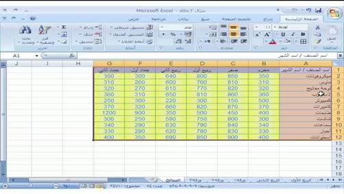 برنامج Excel 2007 - عمليات على بيانات الجدول - فرز البيانات في الجدول