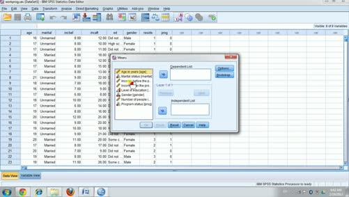 الجانب العملي للإحصاء التطبيقي-spss-حساب المتوسطات ومربع ايتا