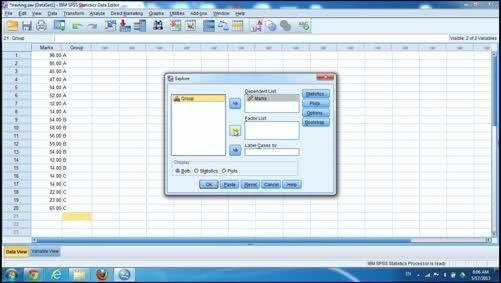 الجانب العملي للإحصاء التطبيقي-الإحصاءات الوصفية-spss-Explore