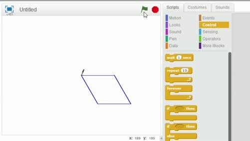 أساسيات الحاسوب والبرمجة - 5285 - المحاضرة الثانية ج6- رسم شكل هندسي لمجموعة معينات والتحكم بزاوية الاتجاه